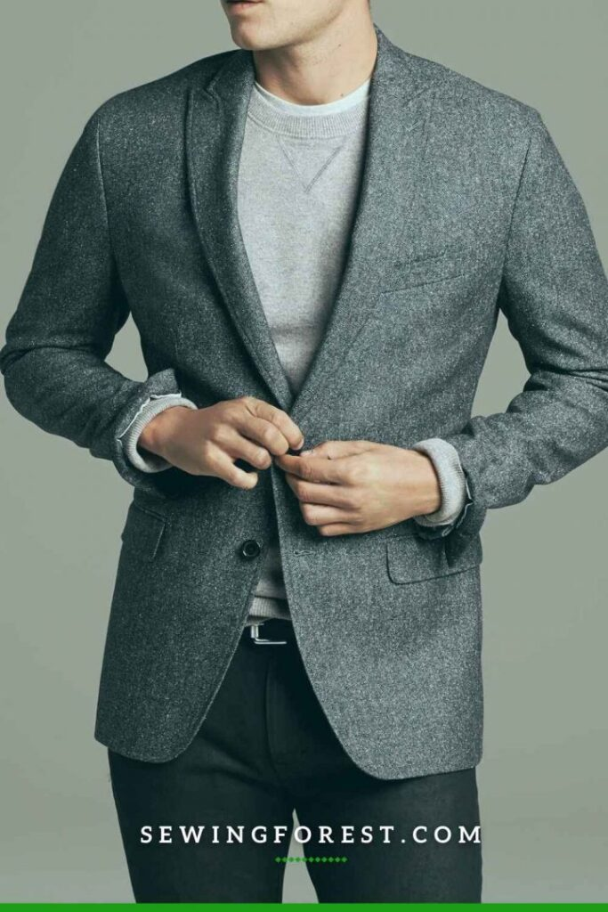 Charcoal Wool Blazer and Black Chinos