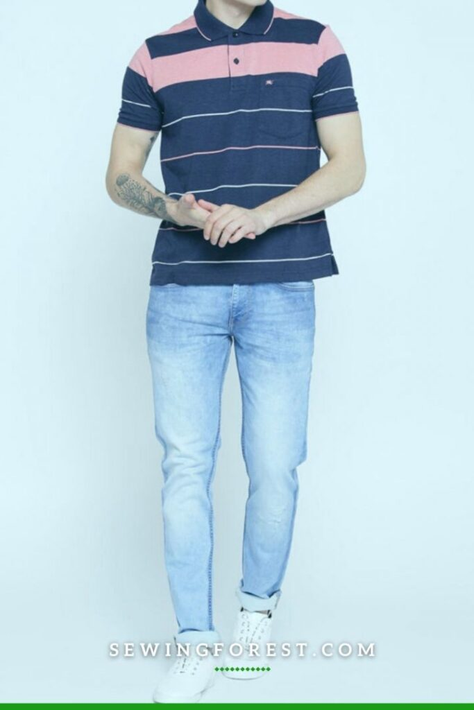 Colored Pattern T shirt with Blue Jeans