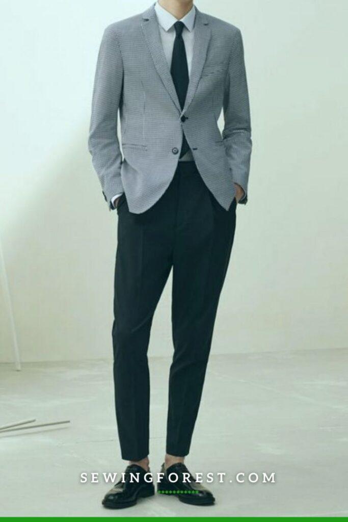 Gray Wool Blazer with Black Dress Pants