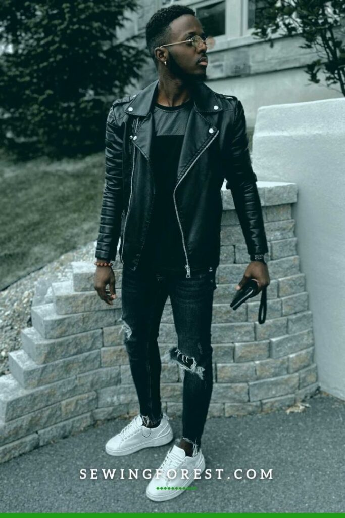 Leather Jacket on a Simple T shirt Denim with Slip on Sneakers