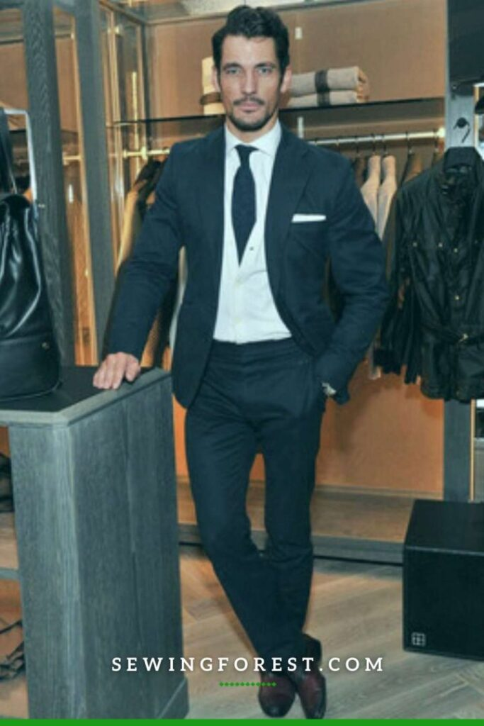 Navy Wool Suit with White Cardigan